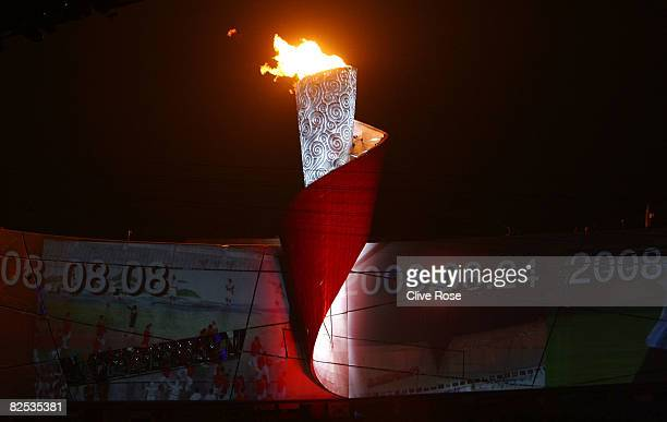A general view of the Olympic torch and flame during the Closing Ceremony for the Beijing 2008 Olympic Games at the National Stadium on August 24...