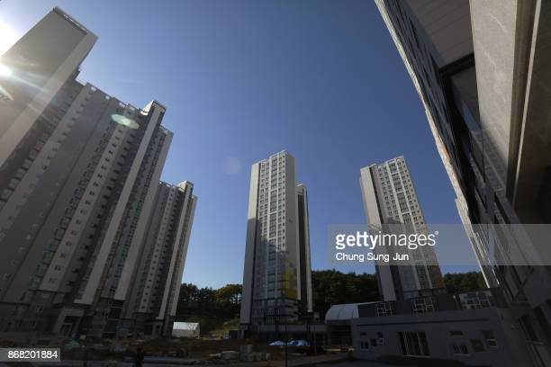 A general view of the Olympic Village Athletes Village ahead of the PyeongChang 2018 Winter Olympic Games on October 30 2017 in Gangneung South Korea