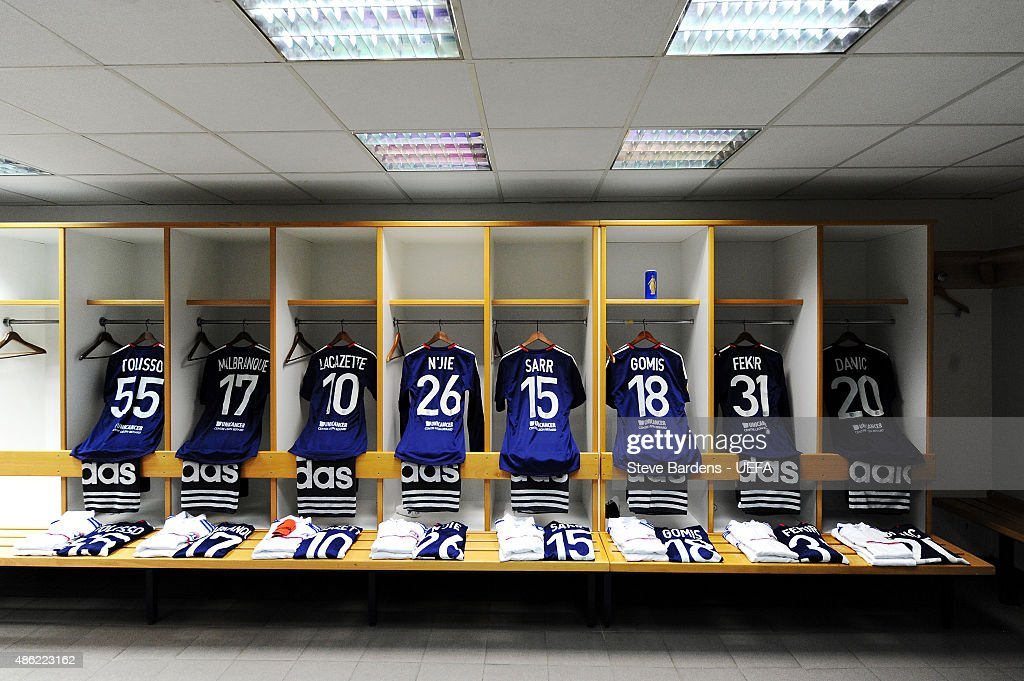A general view of the Olympique Lyonnais changing room prior to the UEFA Europa League Quarter Final 1st leg match between Olympique Lyonnais and Juventus at Stade de Gerland on April 3, 2014 in Lyon, France.