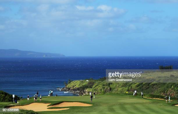 General view of the on the 11th hole as Marc Leishman of Australia and Brian Harman of the United States putt during the second round of the Sentry...