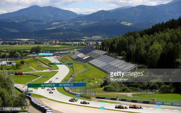 General view of the on track action during the Formula One Grand Prix of Styria at Red Bull Ring on July 12, 2020 in Spielberg, Austria.