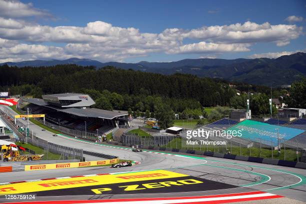 General view of the on track action during the Formula One Grand Prix of Styria at Red Bull Ring on July 12 2020 in Spielberg Austria