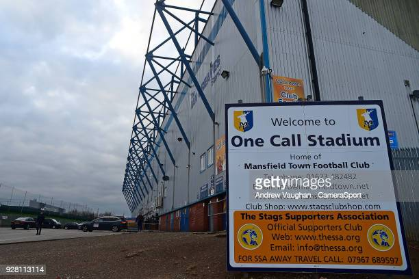 A general view of the One Call Stadium home of Mansfield Town FC prior to the Sky Bet League Two match between Mansfield Town and Lincoln City at One...