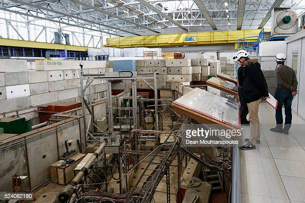 A general view of the one of the four beam lines T8 T9 T10 and T11 being run at CERN in The East Area Hall building 157 at The European Organization...