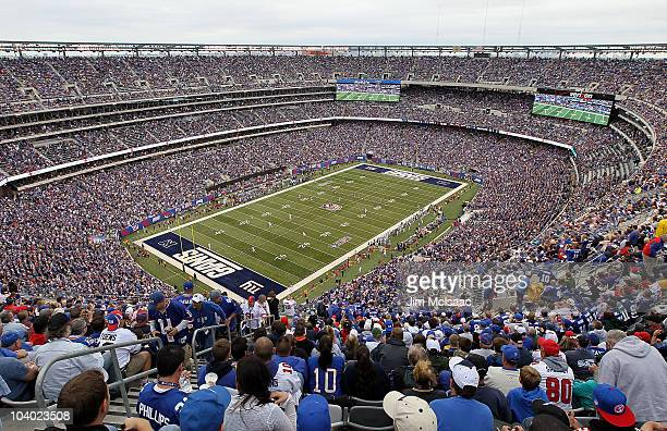 A general view of the openeing kick off at the New Meadowlands Stadium between the Carolina Panthers and the New York Giants on September 12 2010 in...