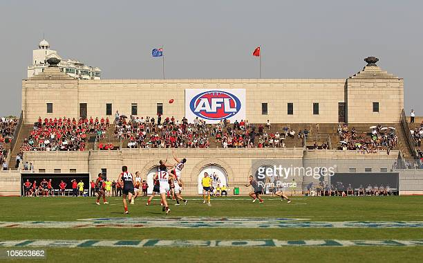 A general view of the opening bounce during the AFL Kaspersky Cup Shanghai Showdown match between the Brisbane Lions and the Melbourne Demons at...