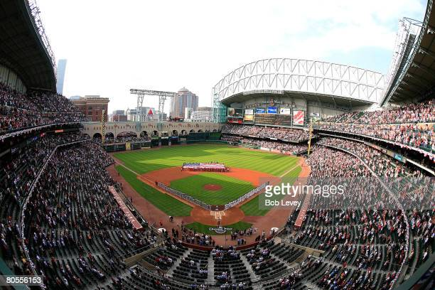 A general view of the Opening ceremonies before the game between the St Louis Cardinals and Houston Astros at Minute Maid Park April 7 2008 in...