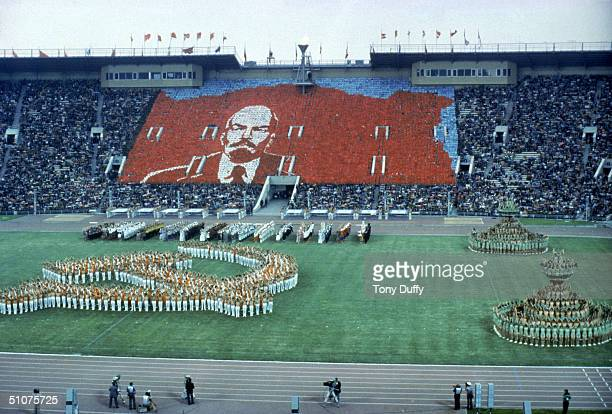 General view of the Opening ceremonies of the 1980 Summer Olympic Games on July 19, 1980 in Moscow, Russia.