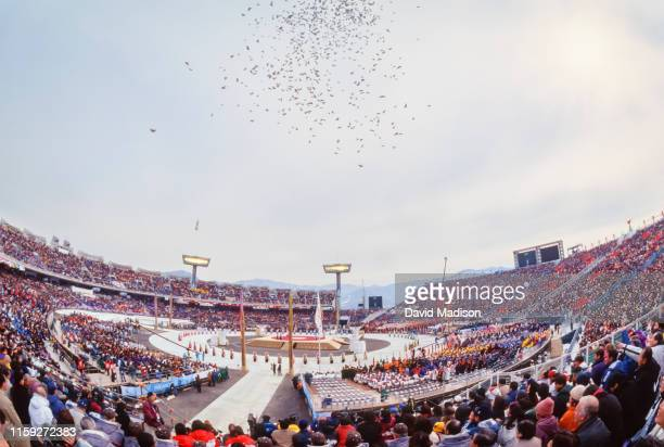 General view of the Opening Ceremonies of the 1998 Winter Olympic Games on February 7, 1988 at the Minami Nagano Sports Park in Nagano, Japan. In the...
