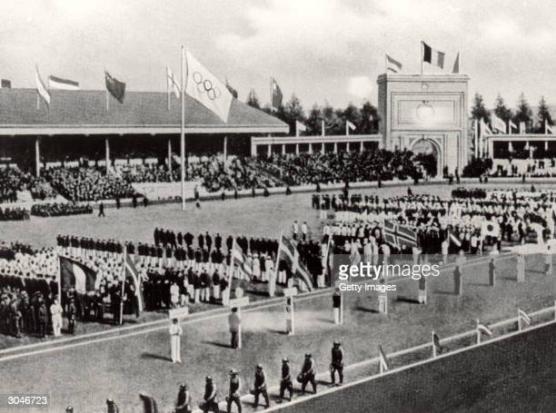 General view of the Opening ceremonies of the VII Olympic Games on April 20, 1920 in Antwerp, Belgium.