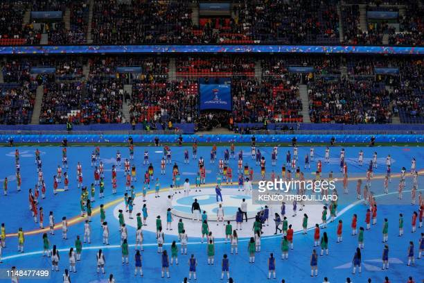 TOPSHOT General view of the opening ceremony ahead of the France 2019 Women's World Cup Group A football match between France and South Korea on June...