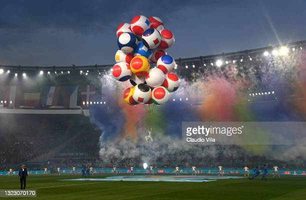 General view of the opening ceremony as Tenor Andrea Bocelli performs Giacomo Puccini's 'Nessun dorma' inside the stadium prior to the UEFA Euro 2020...