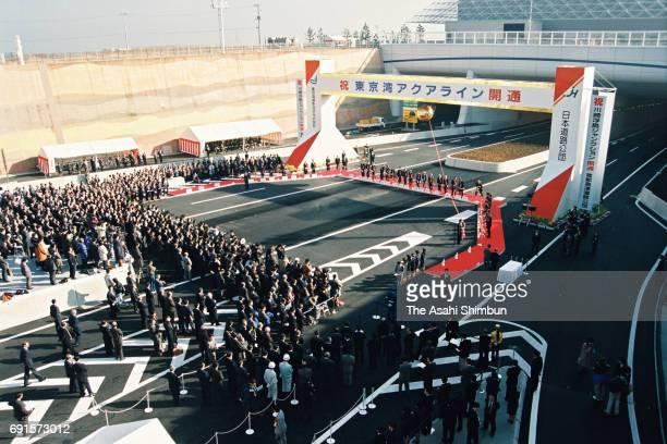 A general view of the opening ceremony as the Tokyo Bay Aqua Line opens at Ukishima Junction on December 18 1997 in Kawasaki Kanagawa Japan