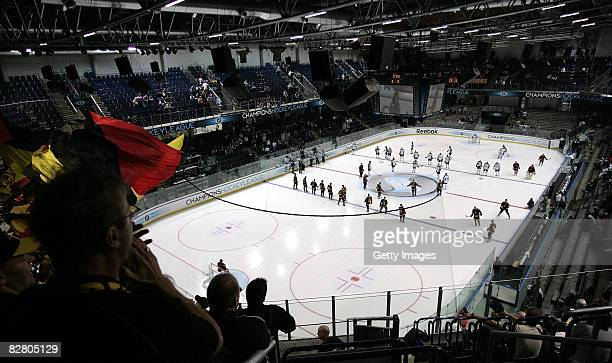 General view of the opening ceremony at the Arene Nuernberger Versicherung prior to the the Champions Hockey League Qualification Match between SC...