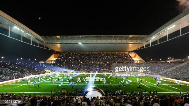 General view of the opening ceremony before the final match between Corinthians and Cruzeiro for the Copa do Brasil 2018 at Arena Corinthians Stadium...