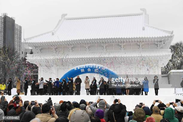 A general view of the opening ceremony during the 69th Sapporo Snow Festival on February 5 2018 in Sapporo Hokkaido Japan The organiser of a week...