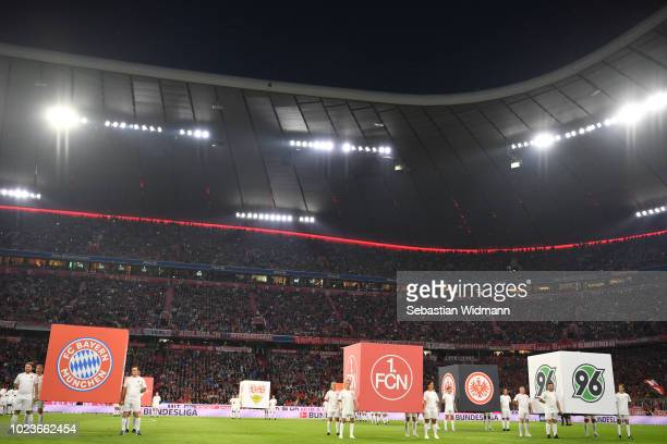 A general view of the opening ceremony during the Bundesliga match between FC Bayern Muenchen and TSG 1899 Hoffenheim at Allianz Arena on August 24...