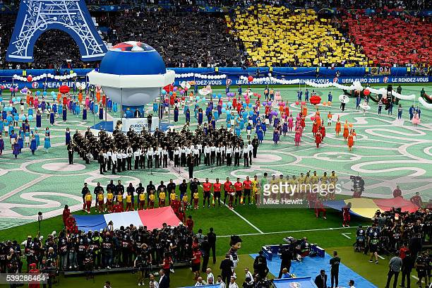 A general view of the opening ceremony during the UEFA Euro 2016 Group A match between France and Romania at Stade de France on June 10 2016 in Paris...