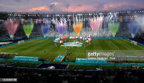 General view of the opening ceremony inside the stadium prior to the UEFA Euro 2020 Championship Group A match between Turkey and Italy at the Stadio...