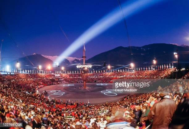 General view of the Opening Ceremony of the 1992 Winter Olympics held on February 8, 1992 in Albertville, France.