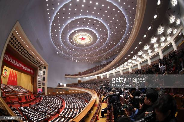 General view of the opening ceremony of the Chinese People's Political Consultative Conference at The Great Hall of People on March 3, 2018 in...