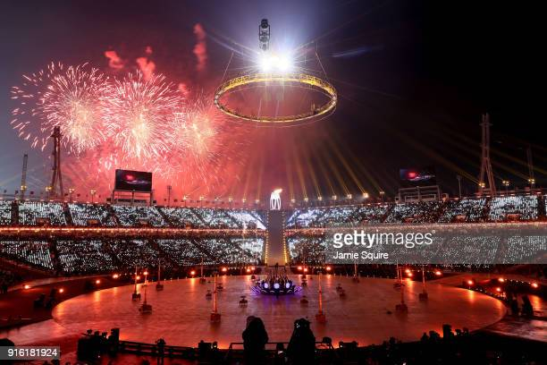 A general view of the Opening Ceremony of the PyeongChang 2018 Winter Olympic Games at PyeongChang Olympic Stadium on February 9 2018 in...