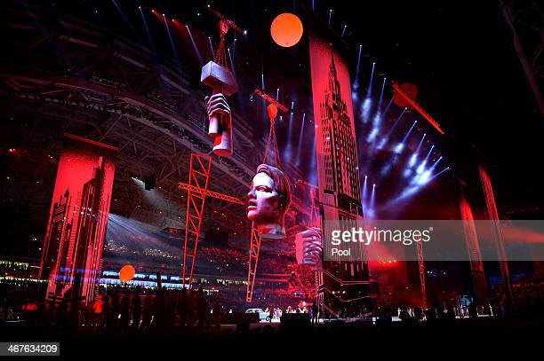 A general view of the opening ceremony of the Sochi 2014 Winter Olympics at the Fisht Olympic Stadium on February 7 in Sochi Russia