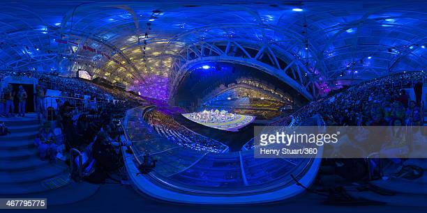 A general view of the opening ceremony of the Sochi 2014 Winter Olympics at the Fisht Olympic Stadium on February 7 2014 in Sochi Russia