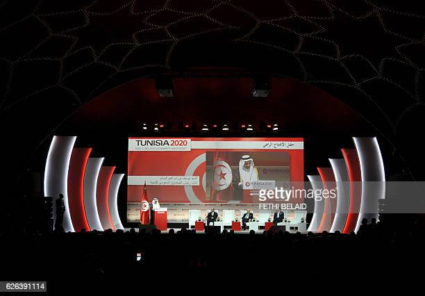 A general view of the opening ceremony of the 'Tunisia 2020' international investment conference on November 29 2016 in Tunis France and Qatar...