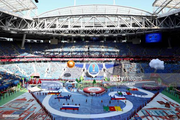 A general view of the opening ceremony prior to the 2017 FIFA Confederations Cup Russia Group A match between Russia and New Zealand at Saint...