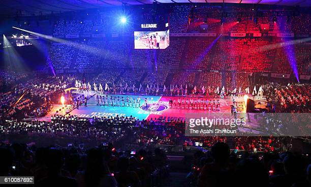 A general view of the opening ceremony prior to the BLeague opening match between Alvark Tokyo and Ryukyu Golden Kings at the Yoyogi National...