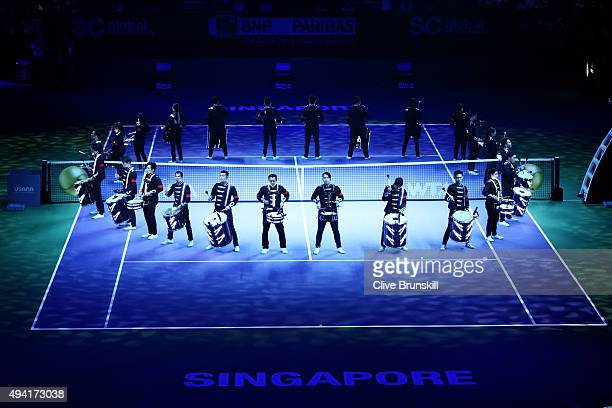 A general view of the opening ceremony prior to the BNP Paribas WTA Finals at Singapore Sports Hub on October 25 2015 in Singapore