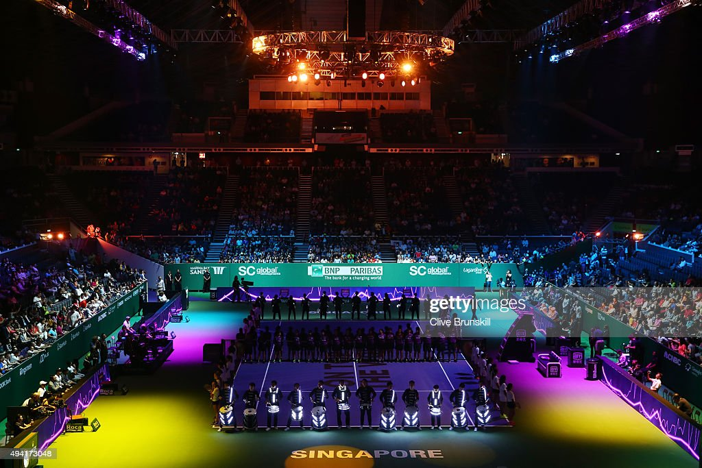 A general view of the opening ceremony prior to the BNP Paribas WTA Finals at Singapore Sports Hub on October 25, 2015 in Singapore.