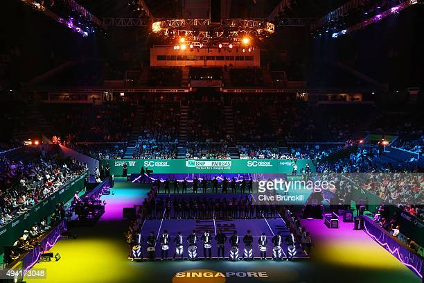 General view of the opening ceremony prior to the BNP Paribas WTA Finals at Singapore Sports Hub on October 25, 2015 in Singapore.