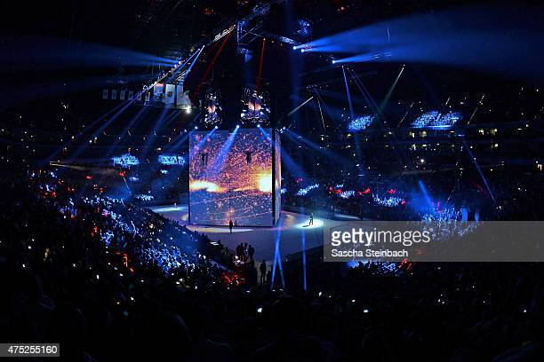 A general view of the opening ceremony prior to the 'VELUX EHF FINAL4' semi final match between FC Barcelona and KS Vive Tauron Kielce at Lanxess...
