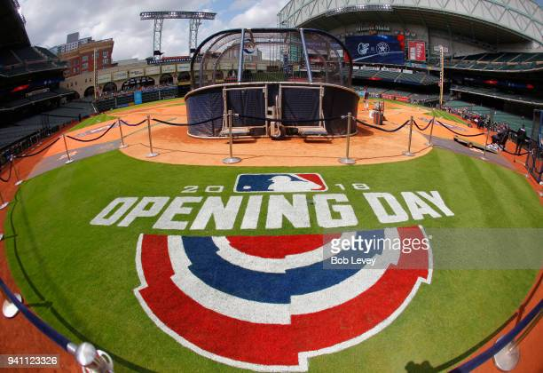 A general view of the Opening Day logo at Minute Maid Park before the game between the Houston Astros and Baltimore Orioles on April 2 2018 in...