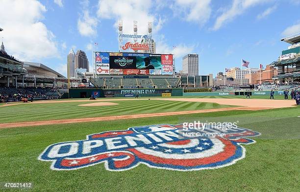 A general view of the Opening Day logo painted on the field prior to the Opening Day Game between the Detroit Tigers and the Cleveland Indians at...