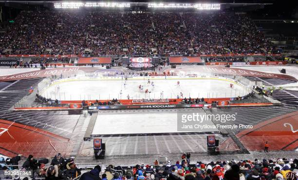 General view of the opening faceoff between the Ottawa Senators and the Montreal Canadiens during the of the 2017 Scotiabank NHL100 Classic at...