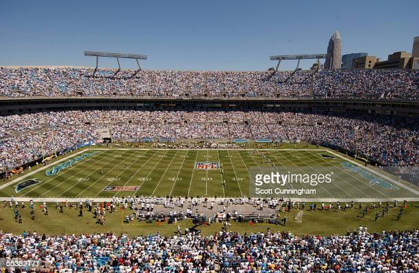 A general view of the opening kickoff between the Carolina Panthers and the New Orleans Saints at Bank of America Stadium on September 11 2005 in...
