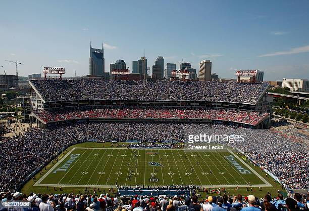 A general view of the opening kickoff between the Jacksonville Jaguars and Tennessee Titans during their game at LP Field on September 7 2008 in...