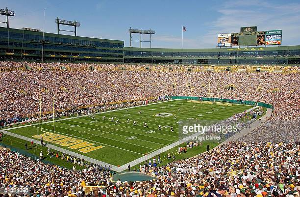A general view of the opening kickoff during a game between the Green Bay Packers and the Chicago Bears at Lambeau Field on September 19 2004 in...