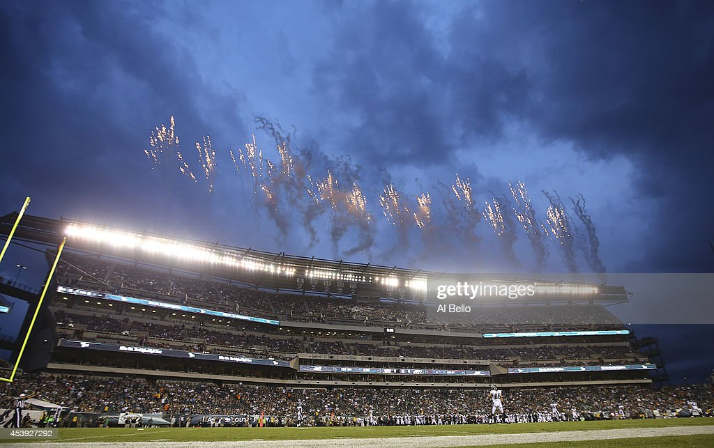 A general view of the opening kickoff for the game between the Pittsburgh Steelers and Philadelphia Eagles on August 21, 2014 at Lincoln Financial Field in Philadelphia, Pennsylvania.