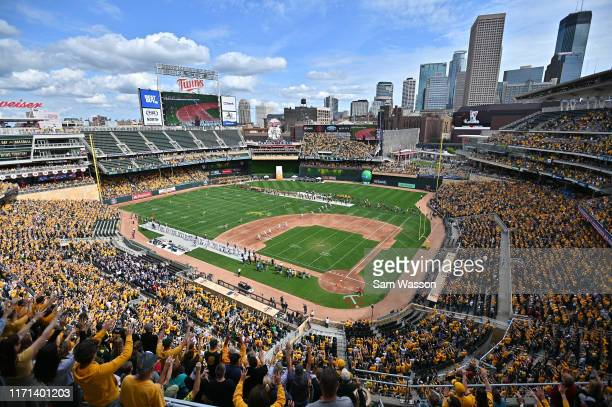 A general view of the opening kickoff of the game between the North Dakota State Bison and the Butler Bulldogs at Target Field on August 31 2019 in...