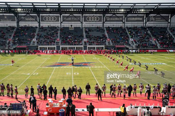 General view of the opening kick-off of the XFL game between the DC Defenders and the NY Guardians at Audi Field on February 15, 2020 in Washington,...