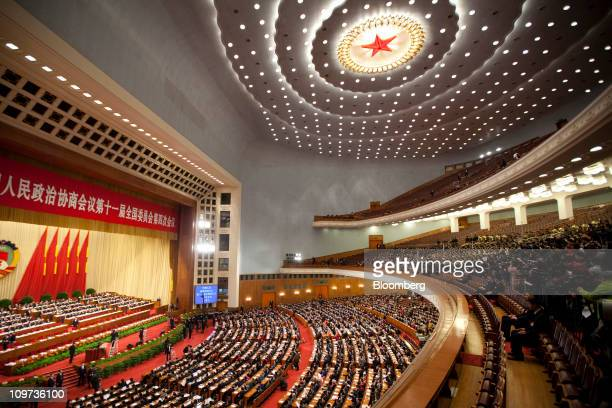 A general view of the opening of the Chinese People's Political Consultative Conference at the Great Hall of the People in Beijing China on Thursday...