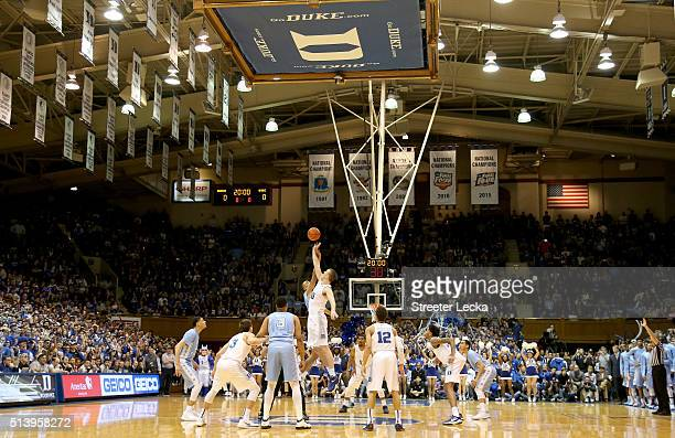A general view of the opening tip of the North Carolina Tar Heels versus Duke Blue Devils at Cameron Indoor Stadium on March 5 2016 in Durham North...