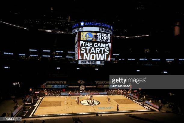 General view of the opening tip off a game between the Brooklyn Nets and the Golden State Warriors at Barclays Center on December 22, 2020 in New...