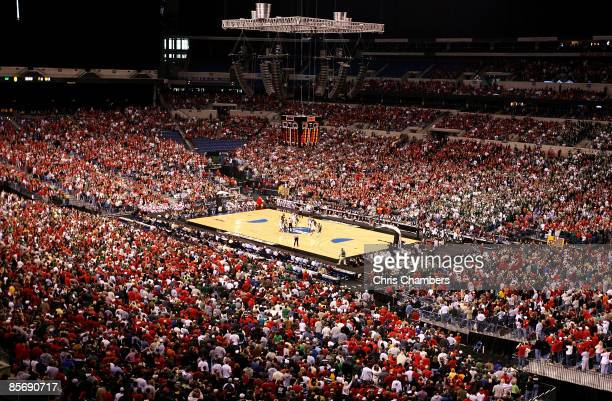 General view of the opening tip-off between the Louisville Cardinals and the Michigan State Spartans during the fourth round of the NCAA Division I...