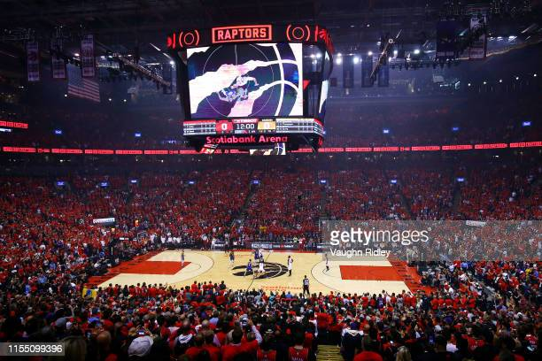A general view of the opening tipoff during Game Five of the 2019 NBA Finals between the Golden State Warriors and the Toronto Raptors at Scotiabank...