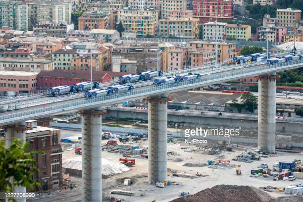 "General view of the operation of the final test of the new bridge built after the collapse of the historical ""Ponte Morandi"", in Genoa,..."